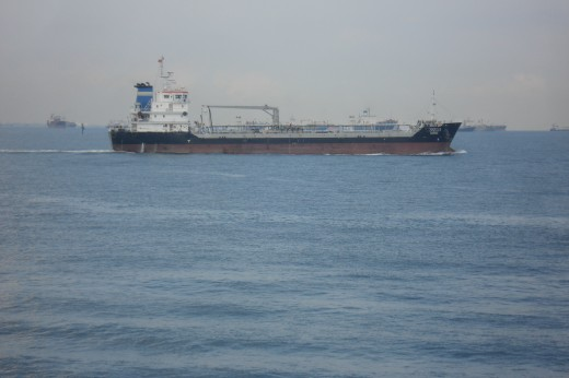 Ship anchored at outer sea