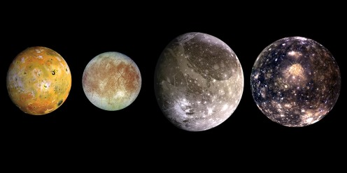 Galilean Moons of Jupiter. Starting from left - Lo, Europa, Ganymede and Callisto.