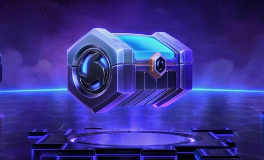 A loot box from Heroes of the Storm, containing up to four randomly selected items of varying qualities. Mostly sprays and single voice lines, probably.