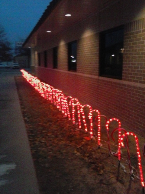 2014-2016 Candy Canes and laser lights at the Police Department, thanks to Walmart, Installed by Eric Standridge
