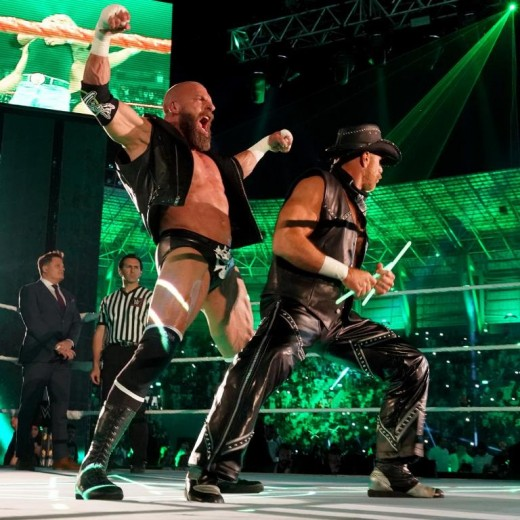 """D-Generation X"".  Triple H and HBK Shawn Michaels."