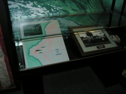 The USS Pueblo exhibit including a map of where it was attacked.