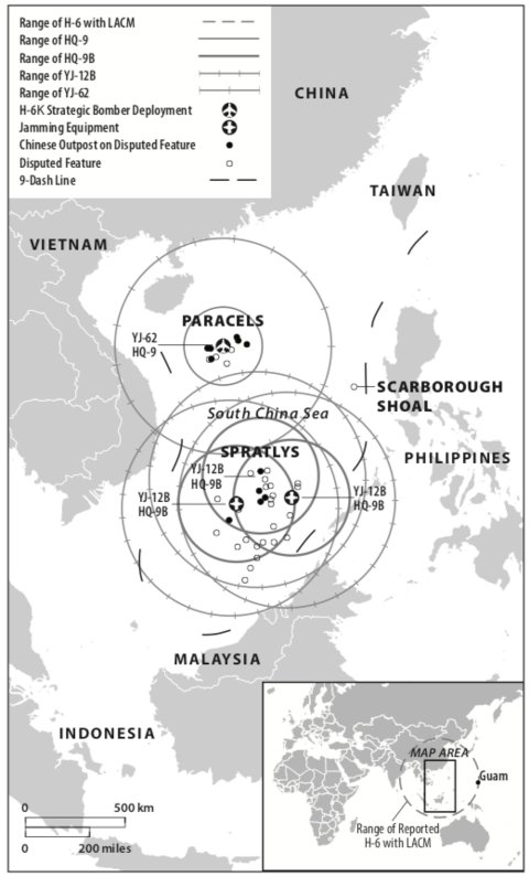 Map showing missile locations and ranges.