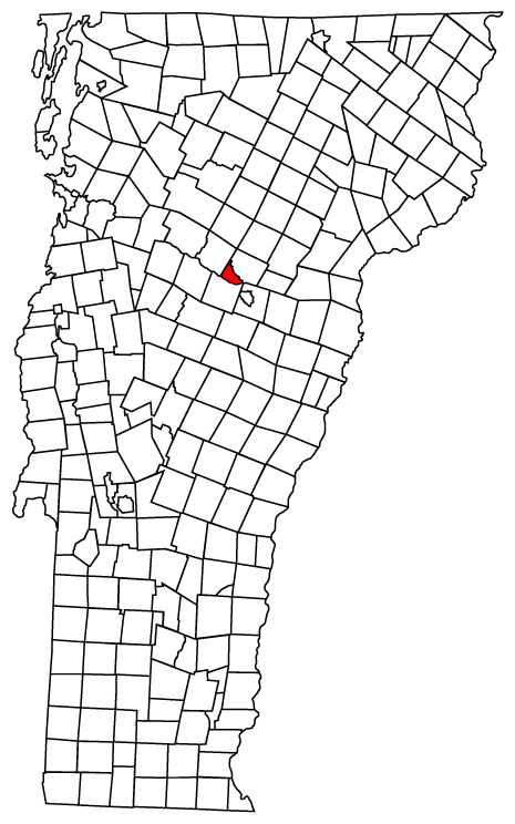 Map of Vermont towns with Montpelier highlighted