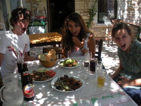 "Some of the ""youth"" that was with us, pretending to be shocked by what we were going to eat, LOL, too funny! Octopus??? :p"