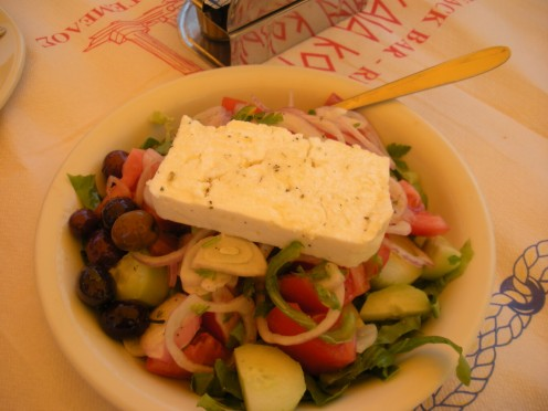 Greed Salad, of course!! Feta Cheese, Kalatmata Olives, etc etc. Yummmy