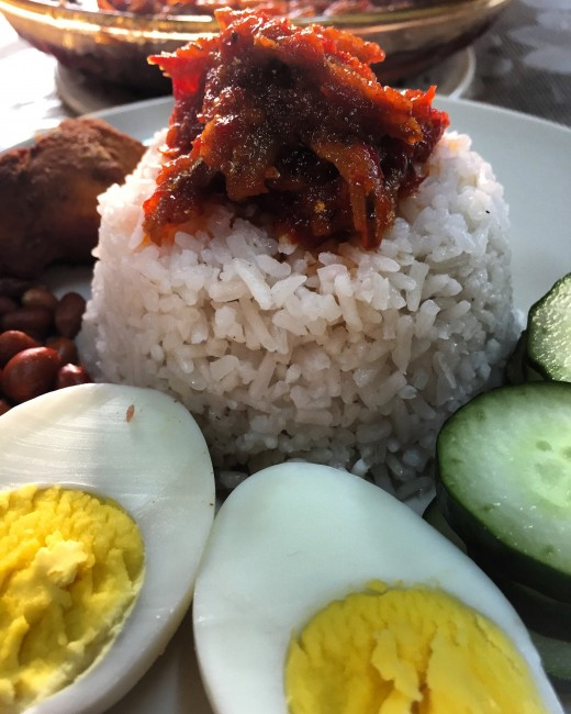 Fragrant nasi lemak is ready to be served.