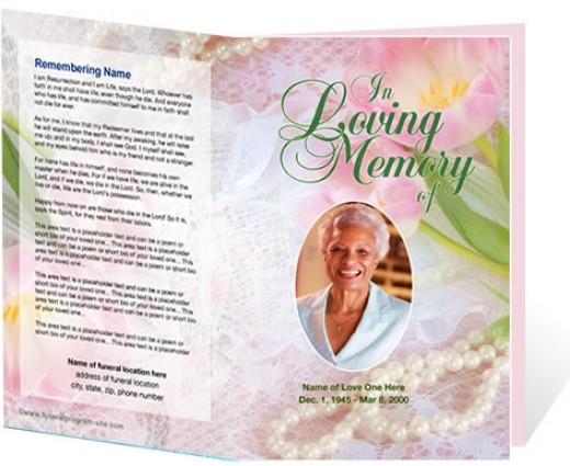 A beautiful funeral memorial program template from The Funeral Program Site at www.funeralprogram-site.com