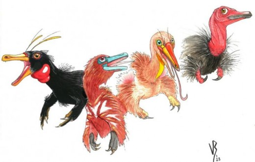 (From left) Haplocheirus, the oldest-known alvarezsaur; Xiyunykus and Bannykus, respectively; and Shuvuuia, a much later alvarezsaur, all by Victor Radermacher.