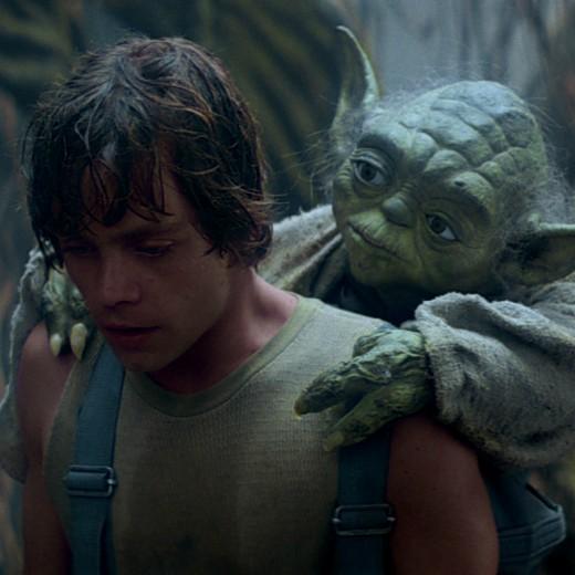 Yoda teaching Luke on Dagobah