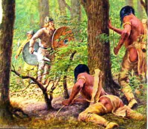 'Skraelings' lie in wait for unsuspecting - yet armed - Norse explorers after initial friendly relations broke down