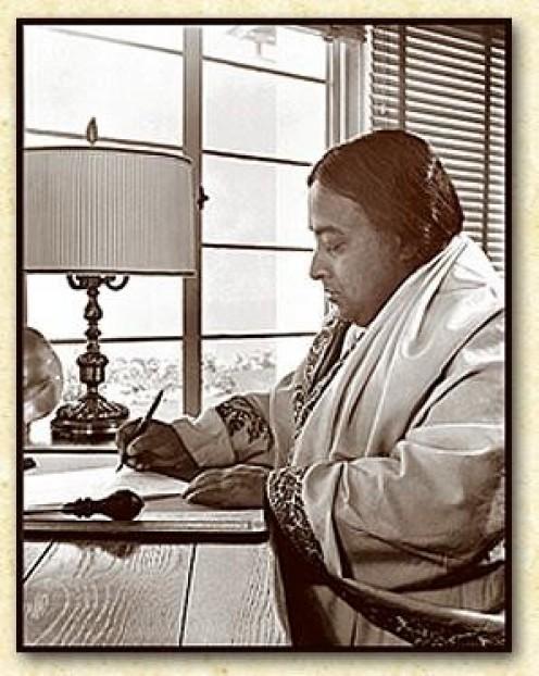 Paramahansa Yogananda writing his Autobiography of a Yogi, at Self-Realization Fellowship's Hermitage in Encinitas, California