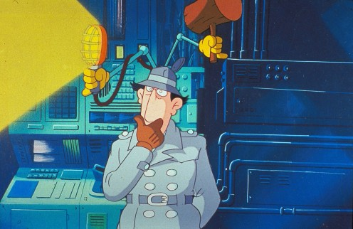 Inspector Gadget in the episode Down on the Farm as he is in the control room wondering how it works.