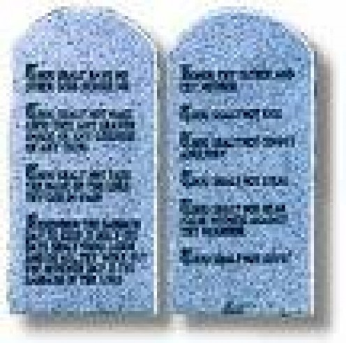 10 Commandments written by God on Sapphire stone from His throne.