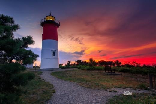 Nauset Lighthouse at Sunrise In Summer