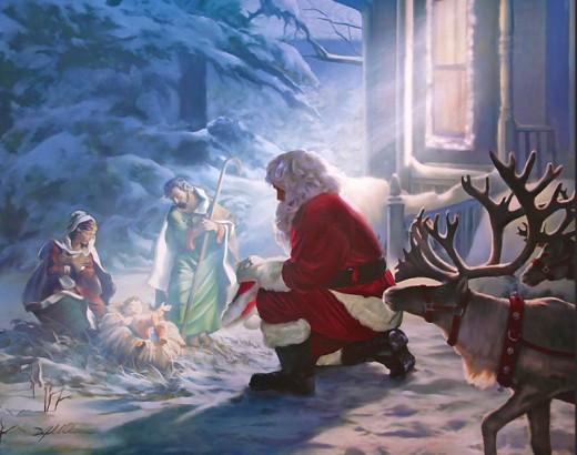 Interestingly, and ironically, this picture portrays Santa as real while the images of Jesus, Mary, and Joseph are lifeless statues.