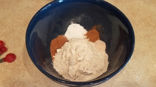 In a large mixing bowl, add all of your dry ingredients and mix.