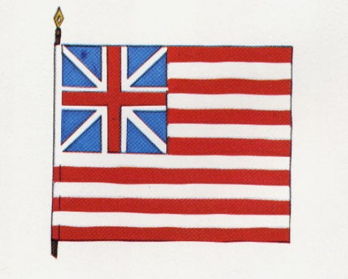 George Washington's Continental Flag. Also known as the Grand Union Flag - the King's Union Jack and the 13 Stripes of the Colonies striving for freedom.