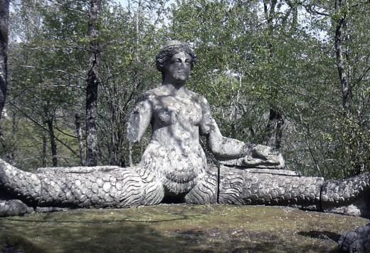 1555 Statue of Echidna by Pirro Ligorio in Parco dei Mostri (Monster Park), Lazio, Italy