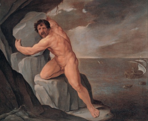 Polyphemus Throwing Rocks at Odysseus's Ship