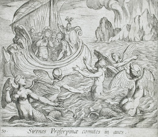 Antonio Tempesta's 1606 Illustration of Sirens Trying to Tempt Sailors to Their Deaths