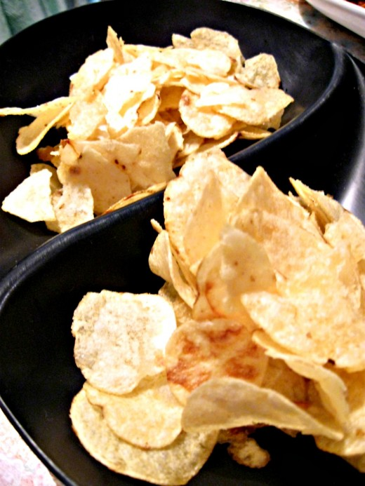 Low salt potato chips make a delicious snack.