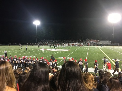 A typical high school football game in October.