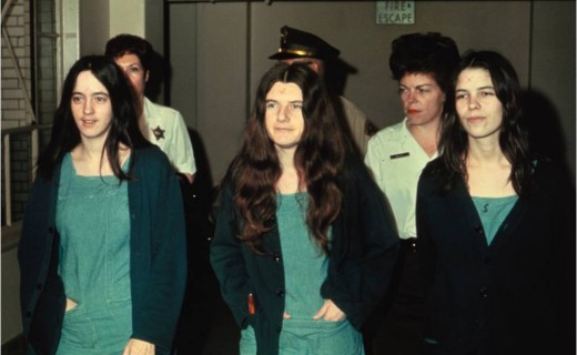 """The females pictured above deemed """"the Manson girls,"""" were the ones involved in the murders."""