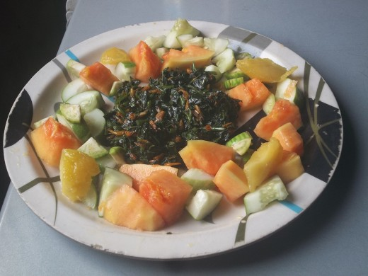 Vegetable fruit salads can supply B-complex when the diet is done with shrimps.