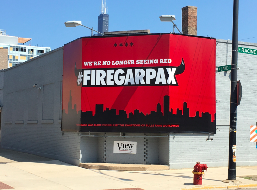 A #FireGarPax billboard at the corner of Lake and Racine in Chicago