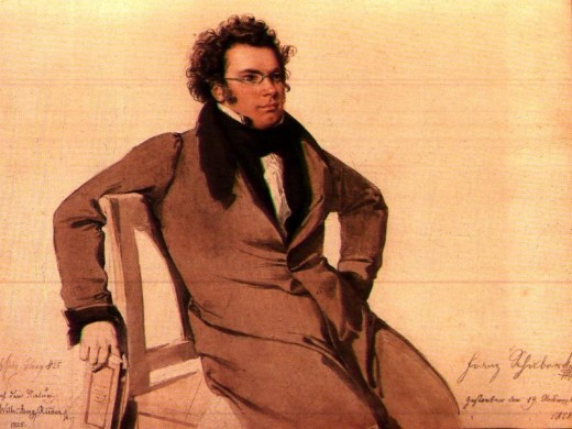 Watercolour painting of Schubert by W A Rieder, 1825.