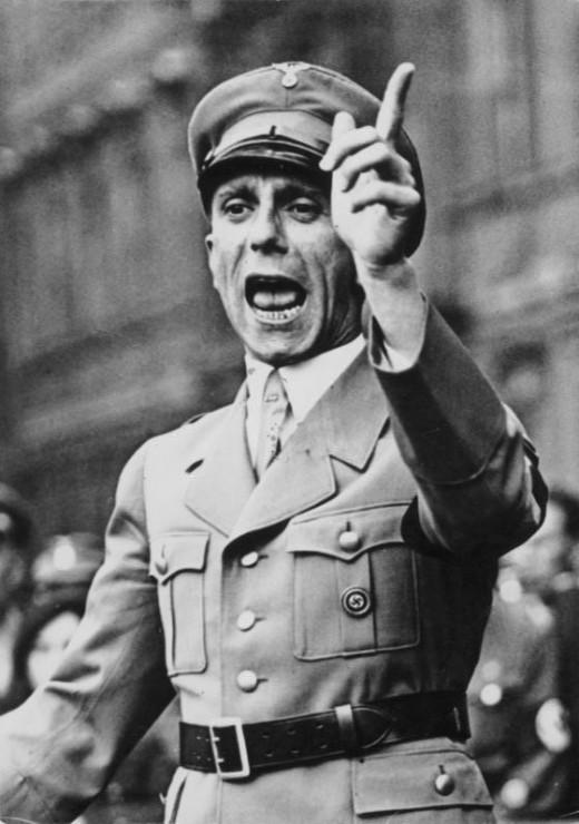 Joseph Goebbels delivering a speech.