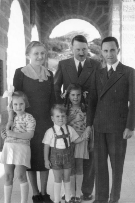 Hitler alongside Goebbels and his family.