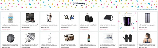 The Amazon giveaway listings page.