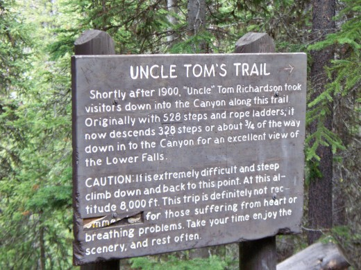 Uncle Tom's Trail sign near Lower Yellowstone Falls - Yellowstone National Park