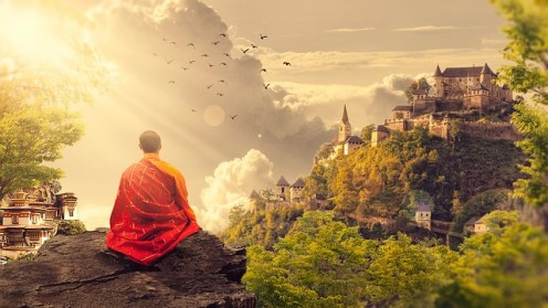 "Zen sitting meditation is also known as the practice of ""serene reflection"""