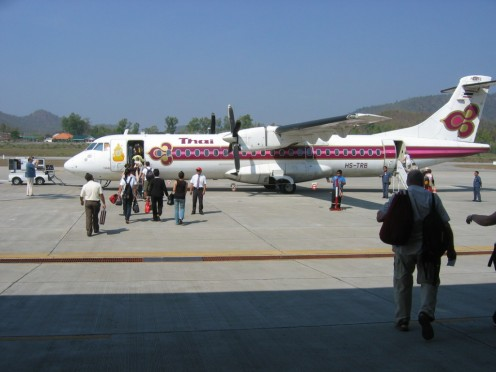 Our Thai Airway plane on the tarmac at Mae Hong Sorn.