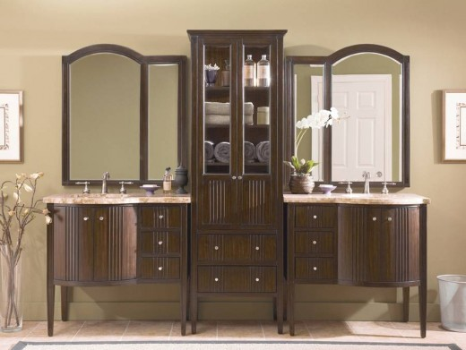 Many double vanities provide ample storage space in their bathroom cabinets.