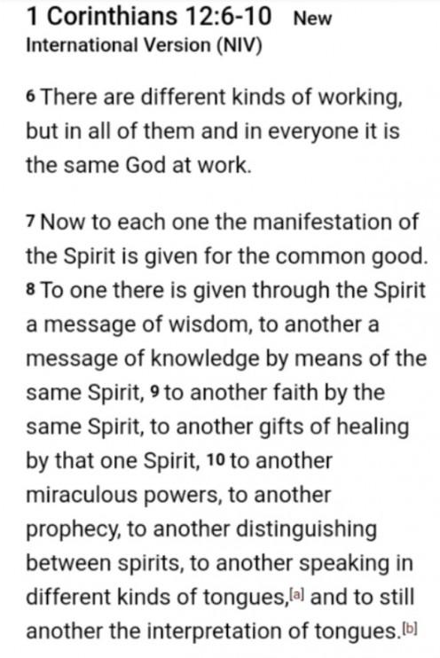 1 Corinthians 12:6-10, Spiritual Gifts.