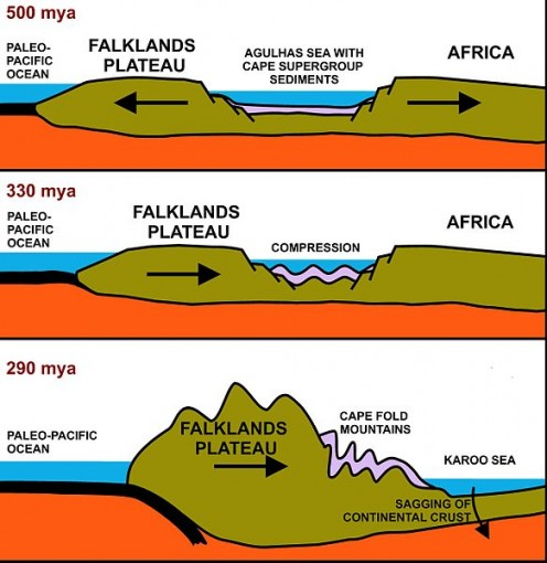 This illustration shows how the Cape Fold Mountains were formed. Fold mountains form when the earth's crust bends and buckles
