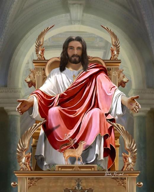 Jesus siting on Throne