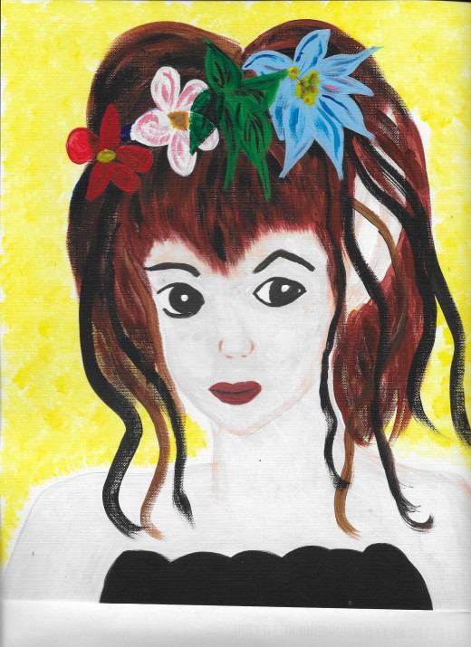 Acrylic painted portrait of a young girl with flowers in her hair.