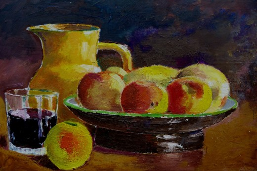 A still life of a pitcher, a glass of juice, and a platter of apples..