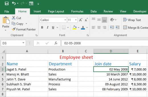 Worksheet with formatting