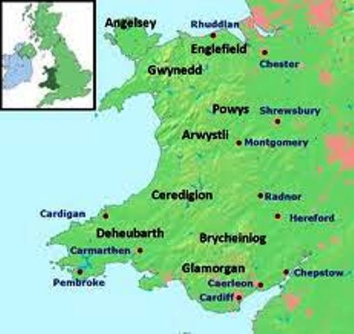 Mediaeval Wales - Chester is top right, Shrewsbury around upper centre right. These were bases for the Marcher Lords to expand the king's - and their own - areas of influence