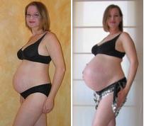 Pregnancy comparison-26 weeks and 40 weeks.