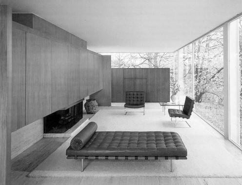 A Bauhaus interior designed by Mies van der Rohe.