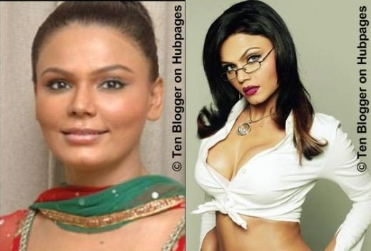 Rakhi Sawant With and Without makeup