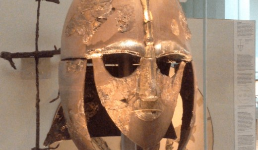 From around the same era, in East Anglia, presumed to be King Raedwald's re-constituted parade helmet found at Sutton Hoo in Suffolk just before WWII began in 1939