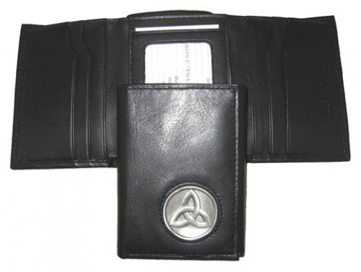 Mens leather wallets can hold attractive metal inlays.